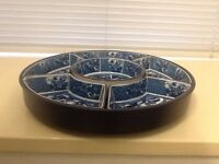 Lazy Susan Chinese pattern 6 dish nibbles/Hors d'oeuvre set on rotating base