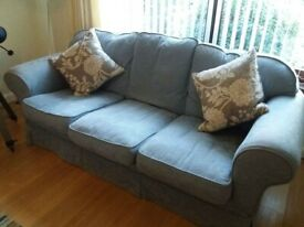 Two large ex-M&S blue settees for sale - no reasonable offer refused!