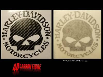 2 x CARBON look HARLEY DAVIDSON style SKULL decal motorcycle Stickers