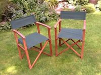 2 Delux wooden framed folding garden Director chairs green canvas seat and back very good condition