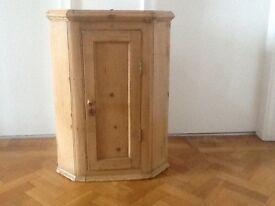 Old pine wall corner cupboard