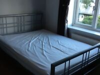 Double bed frame and mattress, grey metal frame, wooden slats base, mattress good quality, no marks