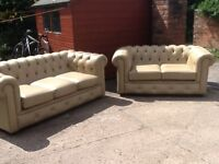 Leather chesterfield suite 3 seater + 2 seater set full real leather CAN DELIVER FREE LOCALLY