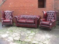 Oxblood red leather chesterfield suite 2 seater sofa and 2 Queen Anne chairs immaculate £1500 CANDEL