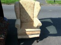HIGH SEAT WING BACK CHAIR WITH QUEEN ANN LEGS