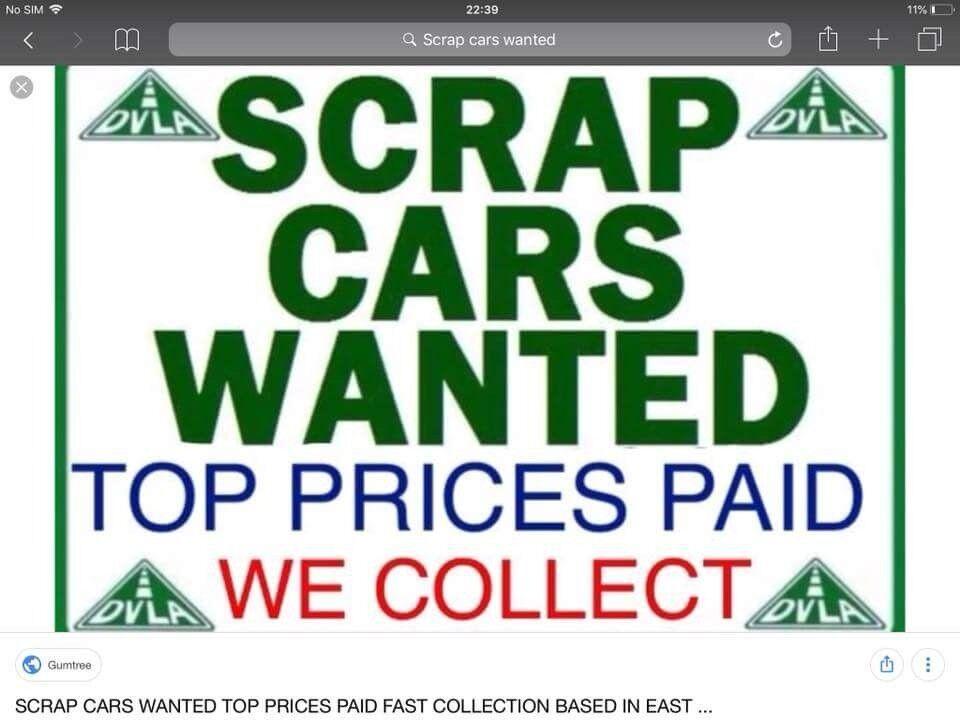 Scrap cars bought for cash breakdown service from £25 MOT failure ...