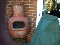 Fantastic Large Garden Chiminea with wrought iron stand and cover