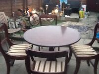 Round pedestal dining table and 4 chairs