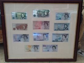 British bank notes old to new- reversibly framed
