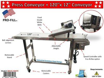 Press Conveyor- 10 Ft Stainless Steel Industrial