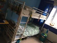 IKEA white metal double bunk bed with mattresses £120