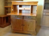 Desk, drop down leaf, drawers, cupboards