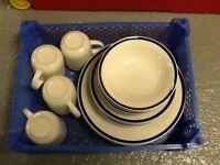 Dinner plates, bowls tea plates and mugs.