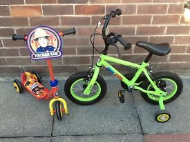 CHILDS BICYCLE AND SCOOTER. FIREMAN SAM SCOOTER AND APOLLO SCOOTER. AS NEW!