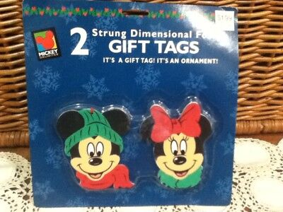 Vintage Disney Dimensional Foam Christmas Gift Tags Ornament Mickey Minnie Mouse