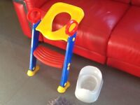 Toilet training seat with step ladder and separate floor potty
