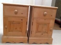 KERRIS PINE PAIR OF BEDSIDE CABINETS.