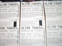 6 alton tower tickets 6/10/16