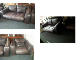 BARKER AND STONEHOUSE INCANTO RANGE MADE IN ITALY 2 X 2 SEATER SOFAS BROWN REAL LEATHER VERY COMFY