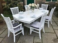 White Extending Dining Table & 6 Chairs