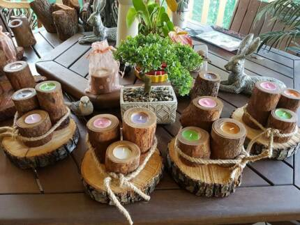 Timber Candle Holders - Set of 3 candles on a timber slice base.