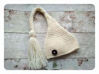 Newborn baby unisex crochet elf hat, baby photography prop