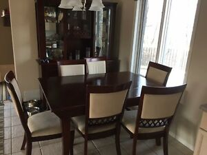 Solid cherry wood dining table and hutch