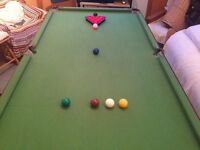 6ft x 3ft collapsable pool/snooker table, full set of pool & snooker balls and accessories (NO CUES)