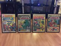 Framed The Mighty World Of Marvel comic books from the 1970's