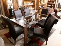 Stylish wood & glass dining table 6 chairs LOW COST MOVES 2nd Hand Furniture STALYBRIDGE SK15 3DN