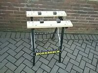AS NEW WORK BENCH FOLDABLE WITH ADJUSTABLE CLAMPS £34.99