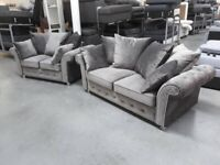 Rimni Grey Plush 3 + 2 Seater Sofa Couch Suite BRAND NEW