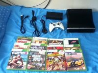 XBOX 360 250GB console with 1 controller and 12 games