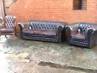 Old antique brown leather chesterfield 3 piece suite 3 seater 2 chairs CAN DELIVER
