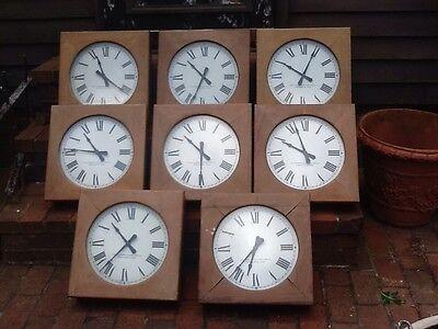 8 Same Antique / Vtg  Standard Electric Wood Schoolhouse Wall Clocks - Very Good