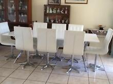Miami White Dining Room Table & 8 Chairs Sandstone Point Caboolture Area Preview