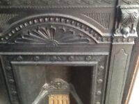 Black cast iron fireplace