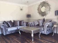 New Silver Grey 3+2 Crushed Velvet Sofas Free Delivery!