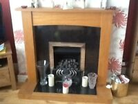Gas fire with surround.