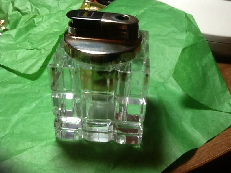 Vtg. Glass Cut Table Top Cigarette Lighter Top Lifts Out