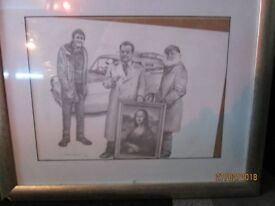 ONLY FOOLS AND HORSES DRAWING IN FRAME THERES A NIC OUT OF THE FRAME PIC NEEDS RE AJUSTING IN FRAME