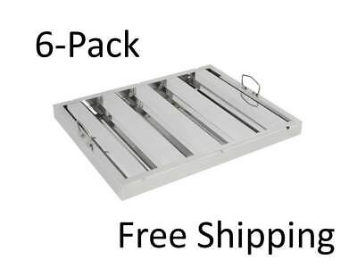 6-pack 16h X 20w X 2t Stainless Steel Exhaust Hood Grease Filters