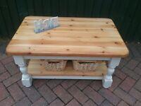 Chunky pine coffee table