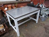Metal stainless steel top table idea for kitchen with wooden base