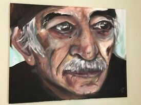 Large Italian man painting coffee