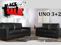 SOFA BLACK FRIDAY SALE 3+2 Italian leather sofa brand new black or brown 6110BUAA