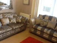 "2 X Stunning ""Landsdowne"" Ashley Manor Range 3 Seater Sofa's and Ottoman Stool."