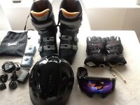 Two sets Ski helmets, goggles, boots and gloves (helmet, Google and gloves worn for only one week)