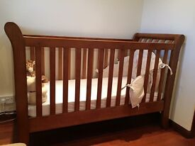 Oak cot bed with mattress