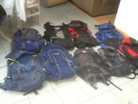 From £30 upto £45each-rucksacks from 55 litres to 80litres(3 are new/unused,most are lightly used